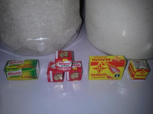 Kosher salt, regular table salt and seasoning cubes