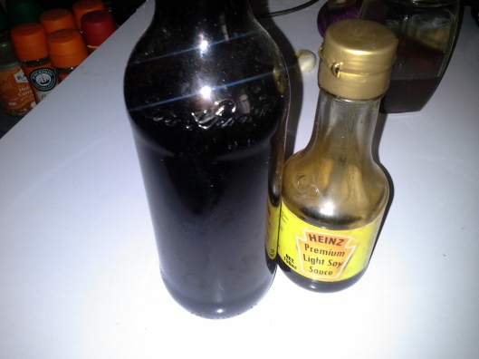 Dark and light soy sauce