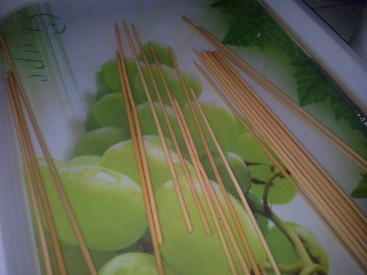 Kebab sticks soaked in water