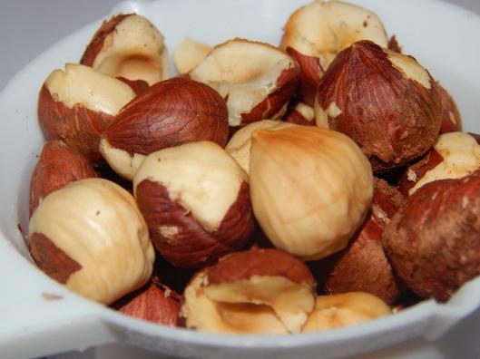 Freshly roasted hazelnuts