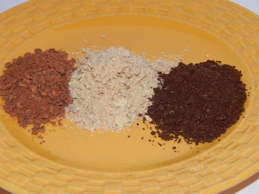 Roughly ground cinnamon,  ginger and cloves