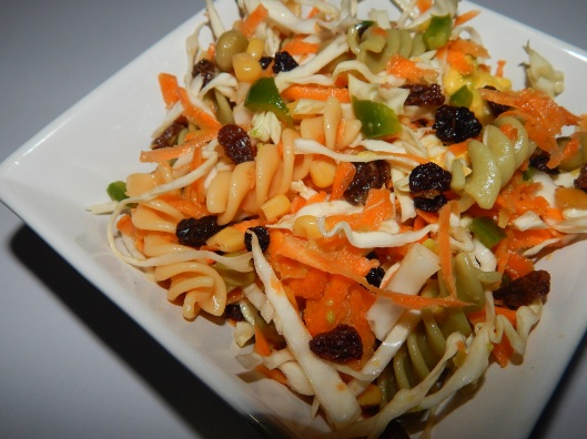 Vegetable Pasta  Salad with raisins