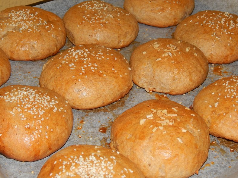 Baked fresh wheat rolls first thing