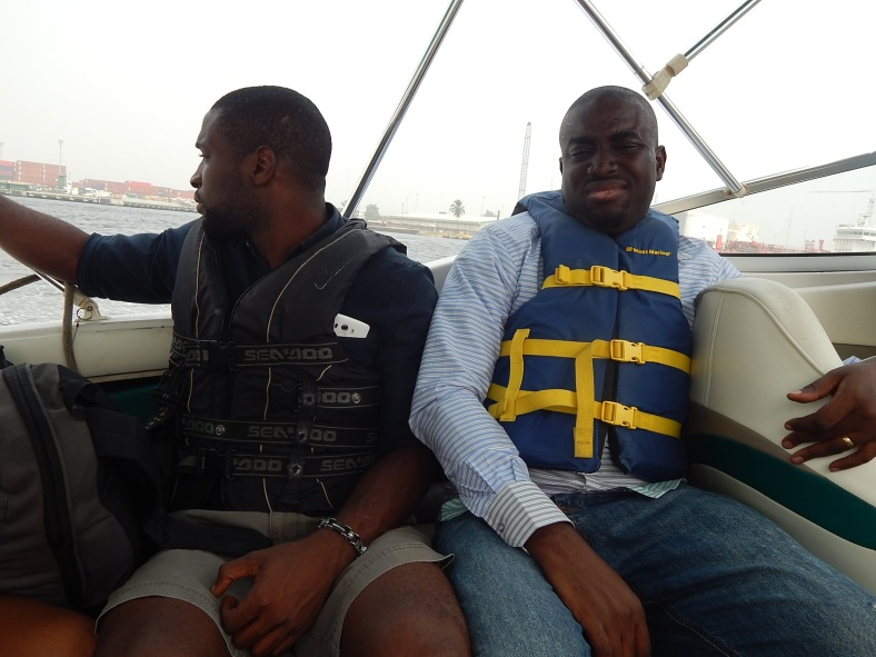 Hubby and cousin in the boat